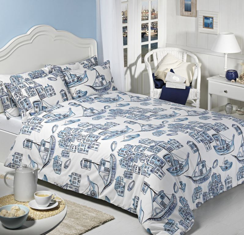 Harbour Blue Printed Duvet Set