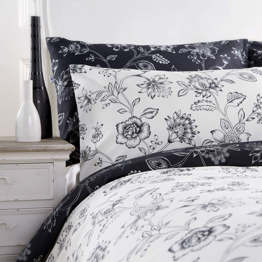Vantona-Amberley-Black-White-Floral-Pillowcase