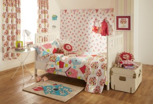 The Birdhouse theme. Bedlinen, wallpaper, curtains, cushions, rug and wall art are all available instore.